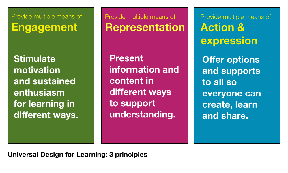 3 principles of UDL based on the work of CAST Center of Applied Special Technologies