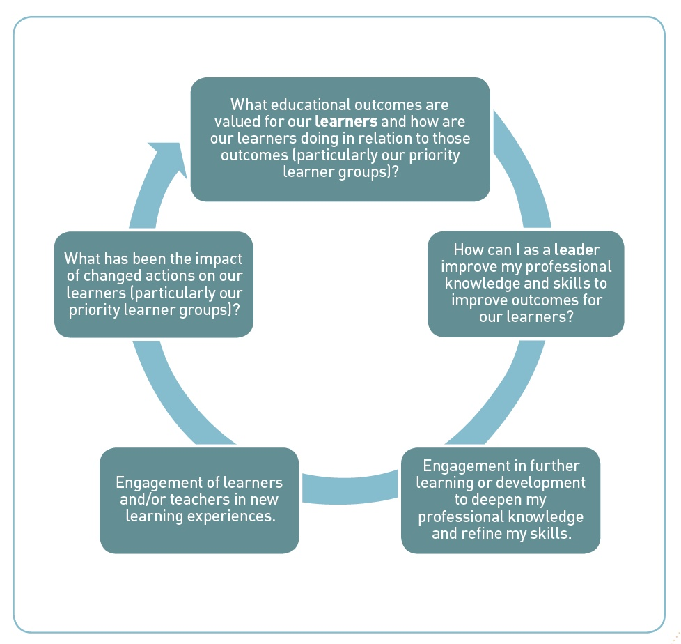 A diagram of the professional learning and development cycle