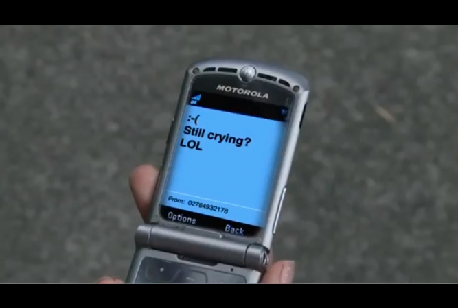 still crying text FROM THE NETSAFE VIDEO AT A DISTANCE.