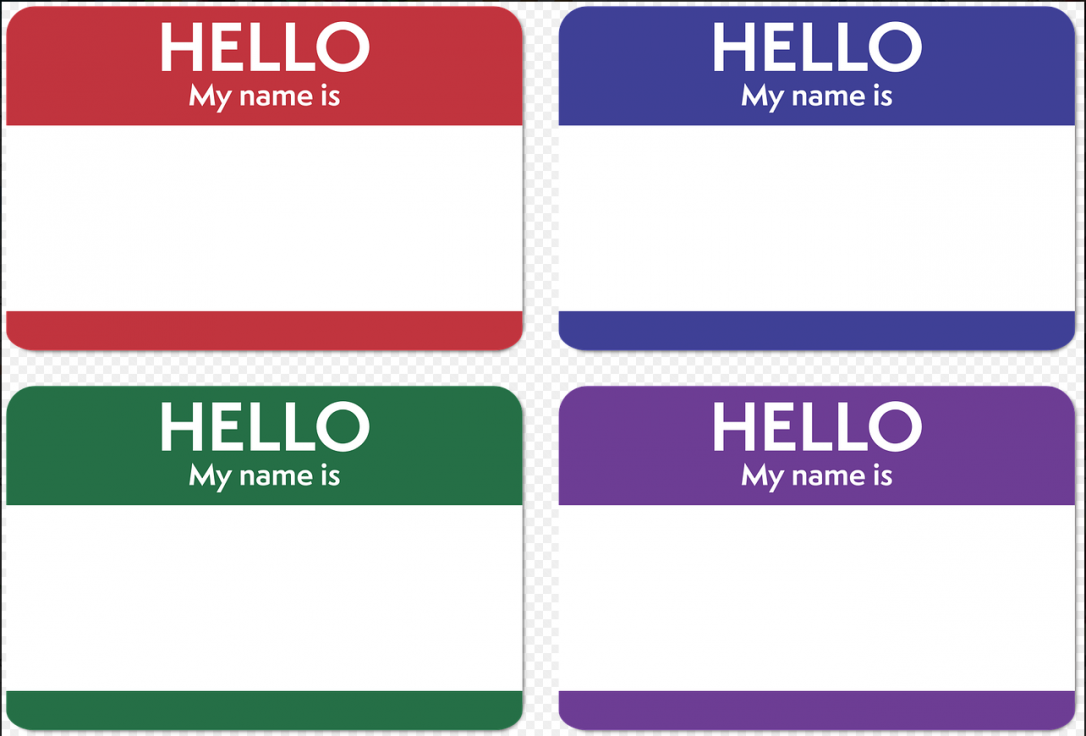Images of four standard name tags