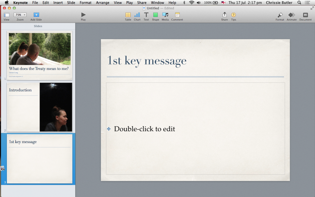 Keynote presentation in edit mode