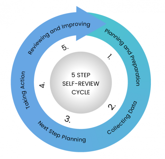 Diagram of a 5-step, self-review cycle
