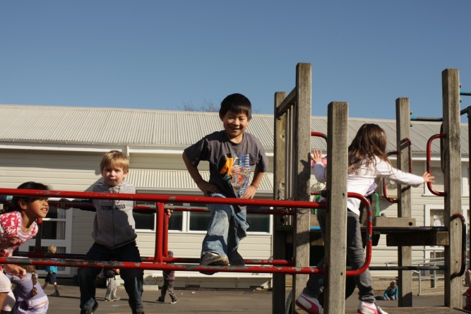 Student on a climbing frame