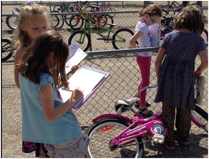 Students record their learning about bikes
