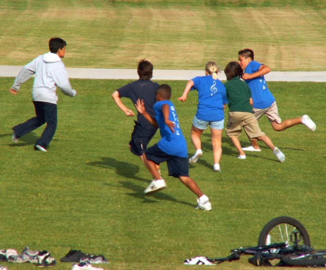 Students playing a team game outdoors