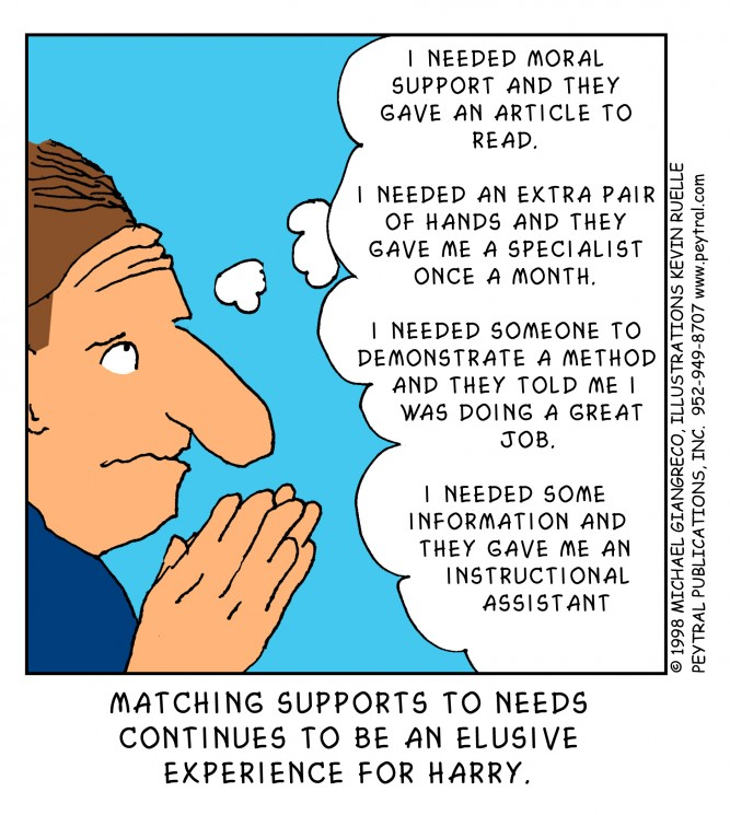 Match supports to needs, Michael Giangreco cartoon