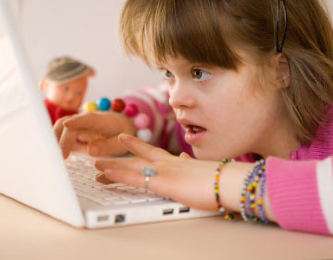 down syndrome girl on laptop again