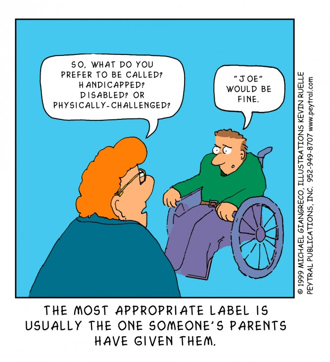 A person's name is the best label, cartoon by Michael Giangreco