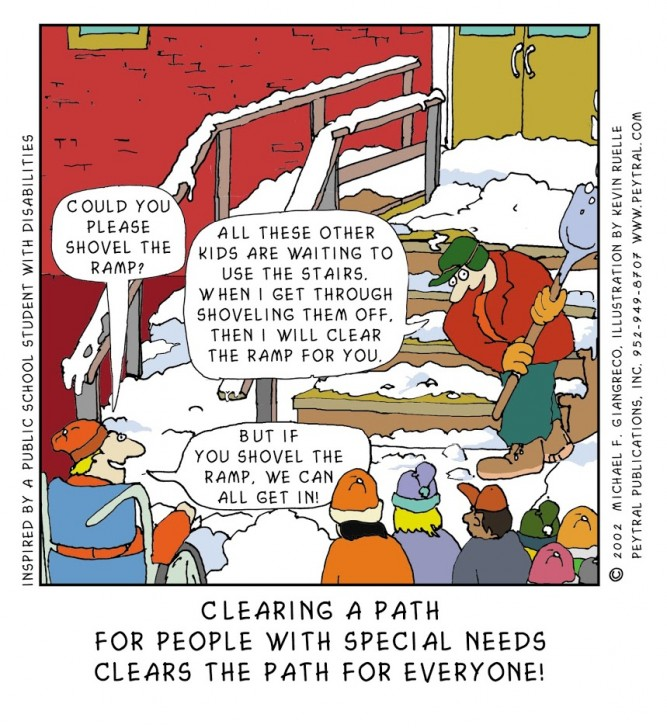 Cartoon - Clearing a path for people with special needs clears the path for everyone.