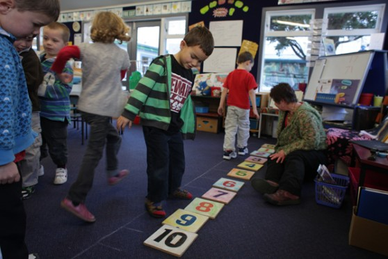 Students engaged in a maths activity
